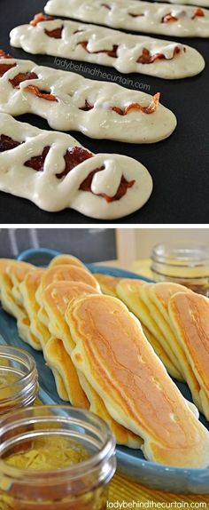 Super Fun Breakfast Ideas Worth Waking Up For (easy recipes for kids & adults!) Bacon Pancake Dippers — 30 Super Fun Breakfast Ideas Worth Waking Up For - Fresh Drinks Breakfast And Brunch, Breakfast Dishes, Breakfast For Kids, Bacon Breakfast, Birthday Breakfast, Fun Breakfast Ideas, Breakfast Pancakes, Brunch Food, Brunch Ideas