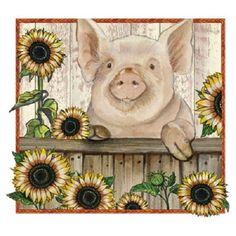 Sunflower Pig HEAT PRESS TRANSFER for T Shirt Tote Sweatshirt Fabric Block #297d #AB