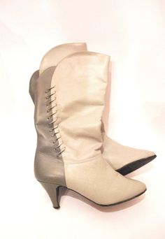 Light & Dark Gray Vintage Leather Pull On High Heel by aveing