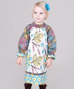 I know this is mean and I'm sorry, but this is possibly one of the ugliest dresses I've seen in a while.  Oh, that poor child... Yellow & Aqua Dazzle Peasant Dress - Infant, Toddler & Girls by Jelly the Pug on #zulily today!