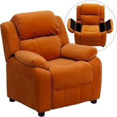Deluxe Heavily Padded Contemporary Orange Microfiber Kids Recliner with Storage Arms BT-7985-KID-MIC-ORG-GG by Flash Furniture