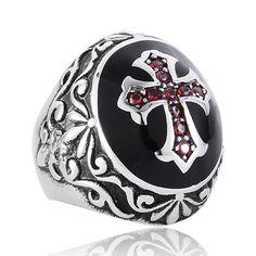 Crow Cross Ring Ruby Ring Titanium Stainless Steel Men Ring Punk Ring Vintage Ring