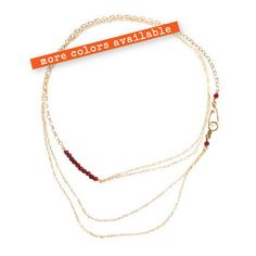 """32'' Double Chained """"Skinny Mini"""" Necklace - Paired with rough cut semi precious stones - Sterling Silver / 14k Gold Fill"""