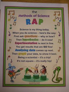 """Help kids learn the steps in the scientific method with this """"Methods of Science RAP.""""- for grade smokies project First Grade Science, Kindergarten Science, Elementary Science, Middle School Science, Science Classroom, Science Fair, Teaching Science, Science Education, Science For Kids"""