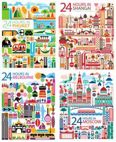 Ilustração 24 Horas em diversas cidades do mundo