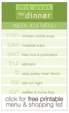 Weekly Dinner Menu  Week One  Menu Menu Planning And Dinners