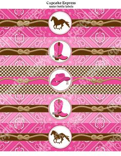 INSTANT DOWNLOAD diy Cowgirl Birthday Party  PRINTABLE Water Bottle Labels pink brown hot pink horse boots