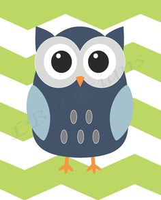 Blue and Green Owl with Chevron Background Nursery Print - 8x10