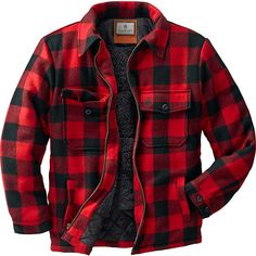 A truly traditional deer camp jacket for generations of Americans.  Beefy wool blend wards off the fiercest winter weather.  Fully lined body with thick, soft sherpa.  Quilted satin insulated sleeves for easy wearing.  Adjustable two button cuffs, hand warmer pockets.  Antique brass zipper.  Dry clean only.  Imported.