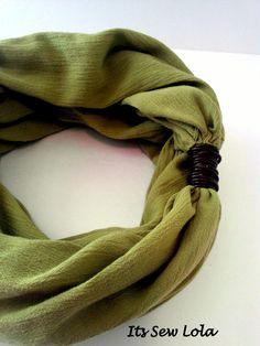 Green Summer Infinity Scarf with Brown Leather Wrap  www.etsy.com/shop/itssewlola