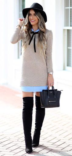 fashionable outfit idea : hat + nude sweater dress + bag + over knee boots + long shirt