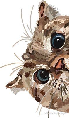 cat painting Peeking Cat Sticker by Maya Louw, Watercolor Cat, Watercolor Animals, Cute Cat Wallpaper, Iphone Wallpaper Cat, Phone Wallpapers, Cat Stickers, Cats And Kittens, Cats Meowing, Siamese Cats