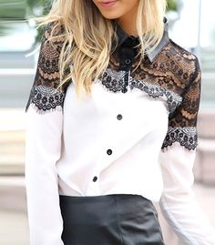 Lapel Long Sleeve Lace Chiffon Patchwork Top from Harper & Lily. Shop more products from Harper & Lily on Wanelo. White Chiffon Blouse, Chiffon Shirt, Lace Chiffon, Love Fashion, Girl Fashion, Fashion Tag, Blouse Styles, Black Laces, Blouses For Women