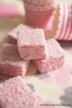 Pink marshmallows, raspberry-flavored & covered in coconut