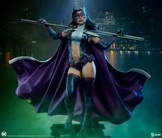 Huntress Premium Format™ Figure | Sideshow Collectibles Raven Color, Helena Bertinelli, Bo Staff, Martial Artist, Sideshow Collectibles, Black Canary, Great Team, 3d Character, Gotham City