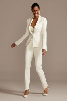 A satin shawl lapel and satin buttons at the sleeves lend this modern fitted suit jacket a soft luster, while elegant flap pockets complete the look. fully lined Dry clean Imported Pair with pants Suit Fashion, Look Fashion, Fashion Outfits, White Wedding Suit, Womens Wedding Suits, Wedding Pantsuit, Wedding Dress Suit, Bride Suit, Pantsuits For Women