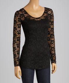 Look what I found on #zulily! Black Floral Lace Scoop Neck Top #zulilyfinds