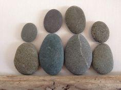 Kiesel Kunst / Familie von vier / herzförmige Felsen /