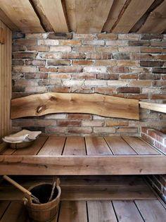 Persoonallinen stone and wood sauna. Labor Junction / Home Improvement / House Projects / Sauna / Cabin / House Remodels / www.laborjunction… - ALL ABOUT Diy Sauna, Sauna Ideas, Rustic Saunas, Design Sauna, Sauna Hammam, Sauna Shower, Outdoor Sauna, Finnish Sauna, Sauna Room