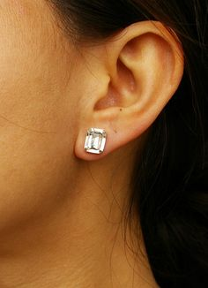 Classic, Czech Rhinestone Octagon Stud Earrings $14