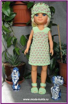 Сарафан и шапочка двухцветным узором на куклу НЭНСИ