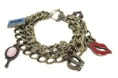 BETSEY JOHNSON  Mirror Crown Charm Sexy Lip Bracelet hip trendy funky boho chic! #BetseyJohnson #ChainLink