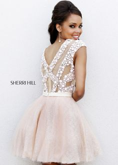 Sherri Hill 4301 - Blush Beaded Short Homecoming Dresses Online