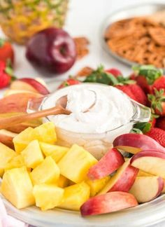 Easy fruit dip is a sweet treat to serve with your favorite fruit. Start with a creamy cream cheese base and sweetened with marshmallow fluff. Roasted Zucchini And Squash, Roast Zucchini, Parmesan Green Beans, Parmesan Asparagus, Cut Out Cookies, Yummy Cookies, Salsa Verde, Strawberry Fruit Dips, Easy Fruit Dip