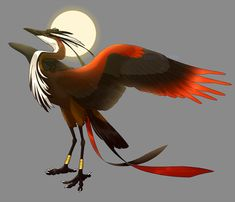 """teninini: """" corycat90: """" commission for TeniCola of their design of Ra (bennu bird form) from their Deities of Duat project! really loved drawin this beautiful bird """" !!!!!!!!!! I'M PHYSICALly prying my eyes away from staring at this long enough to..."""
