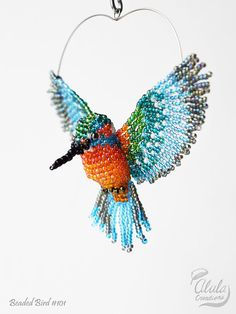Kingfisher Suncatcher, Window Decor, Kingfisher Ornament, Bird Necklace, Car Charm, 3D Beaded Bird, Bird Lover Gift, Bird Figurine / BB101