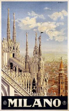 Italy.  Vintage travel poster for Milan.  Issued by ENIT (Ente Nazionale Italiano per il Turismo).