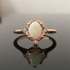 Rose Gold Opal Engagement Ring  14K Rose Gold Opal and