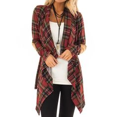 - Red Casual Grid (S,M) - Cardigan Cotton 280 g S : sh. Shrug For Dresses, Formal, Fashion Outfits, Fashion Coat, Fall Fashion, Fashion Ideas, Coats For Women, Plaid Scarf, Sweater Cardigan