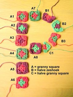 crocheted granny square letters