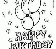 Happy Birthday Kids Balloons Quotes Coloring Pages