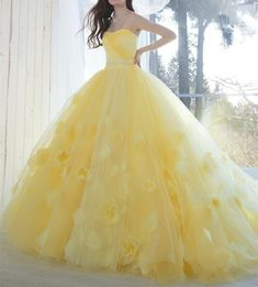 Elegant Yellow Strapless Long Prom Dress,Applique Flowers Evening Party Dresses on Luulla Pretty Prom Dresses, Sweet 16 Dresses, Pageant Dresses, Quinceanera Dresses, Ball Dresses, Ball Gowns, Yellow Wedding Dresses, Party Dresses, Strapless Prom Dresses