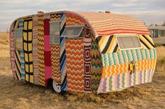 knit-covered trailer (this would be a sweet use for all those afghans you can find at the thrift store!)