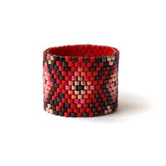 Wide boho ring Red boho ring Colorful bohemian by HappyBeadwork
