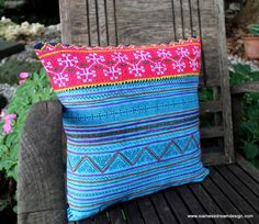 Bright Blue and Pink 16 Ethnic Hmong by SiameseDreamDesign on Etsy, $28.00