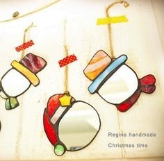 Stained glass snowman ornaments