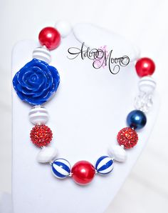 4th of July Chunky Bead Children's Necklace by AdoreMooreBoutique, $22.00