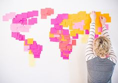 Totally in awe of this Post-it world map.