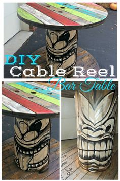 DIY wooden cable reel table, cable reel without cable, spool table, love the tiki Cable Reel Table, Wooden Cable Reel, Wooden Cable Spools, Wooden Spool Tables, Cable Spool Tables, Wood Spool, Spool Crafts, Pallet Crafts, My Pool