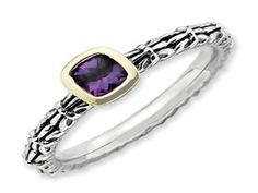 Checkerboard Cut Amethyst Sterling Silver 14K Gold Stackable Ring (Online at Gemologica.com)