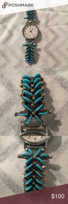 Navajo Turquoise Sterling Silver Art Watch Band Beautiful handmade piece. Watch not in working order. The side of the pin on one of the bands is loose and needs to be soldered back on to be functioning. Still a gorgeous piece! Please feel free to check out my other items! I love bundling and will consider reasonable offers on my items. Thanks! Please note that my items come from a kitty friendly, smoke free home. Accessories Watches