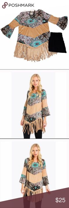 """Adorable Boho Suede and Fringe Top This Boho inspired top is gorgeous! The tan parts on the body and arms, as well as the fringe, are soft suede. The rest of the material is soft as well - being 95% polyester and 5% spandex. It is stretchy and comfortable.         SMALLArmpit to armpit 19"""" - Waist 41"""" - Hips 42"""" - Length 26"""" + 8"""" Fringe MEDIUM Armpit to armpit 20"""" - Waist 43"""" - Hips 44"""" - Length 26""""+ 8"""" Fringe  LARGE Armpit to armpit 21"""" - Waist 45"""" - Hips 46"""" - Length 27"""" + 8"""" Fringe The…"""