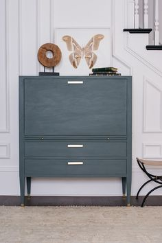 Jolie Paint in Legacy is a deep muted green with dark grey undertones. It is a strong neutral that works in a variety of spaces. This secretary was painted with Legacy and finished with Jolie Finishing Wax in Clear. Green Paint Colors, Wall Colors, House Painting, Diy Painting, Blue Painted Furniture, Bathroom Updates, Bathroom Renos, Furniture Restoration, Kitchen Redo