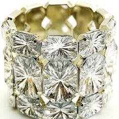 Diamond shape bracelet with a gold accent
