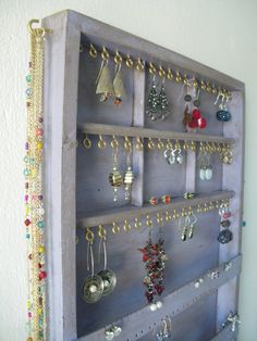 Jewelry Organizer display  Storage - Earrings, Necklaces, Bracelets holder - Wall mounted - Handmade by CraftersCalendar on Etsy https://www.etsy.com/listing/167149628/jewelry-organizer-display-storage
