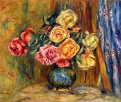 """Pierre- Auguste Renoir's last word was """"flowers"""", a bouquet that consists of roses just picked from his garden in a vase on his bedroom windowsill. During Renoir's artist career, flowers played a big part in his success. A mixture of bold colors mixed in with beauty. Here are some of our favorite rose paintings.  As he once told a critic 'I just let my mind rest when I paint flowers'."""